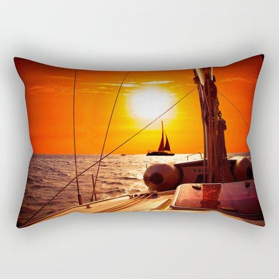 Yacht at Sunset Rectangular Pillow