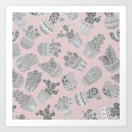 Modern silver blush pink trendy cactus floral Art Print