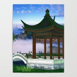 Pagoda Fantasy Scene Poster