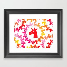 Color Me Red Unicorn Framed Art Print