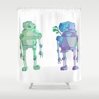giants Shower Curtains featuring Stone Giants by Emily Joan Campbell