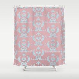 Damask Print Dark Shower Curtain