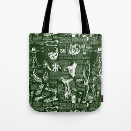 Da Vinci's Anatomy Sketchbook // Myrtle Green Tote Bag