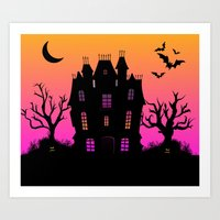 haunted mansion Art Prints featuring Haunted Silhouette Rainbow Mansion by rainbowdreams