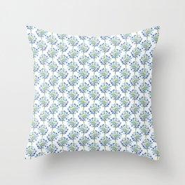 Heart Flower - Blue Throw Pillow