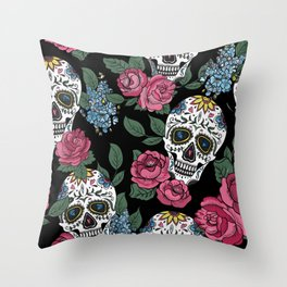 Skulls and Roses Throw Pillow