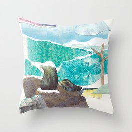 Traveller by a Waterfall Throw Pillow