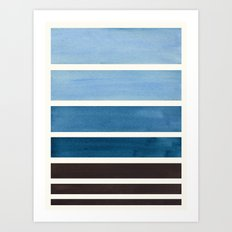 green blue minimalist watercolor mid century staggered stripes rothko color block geometric art art print