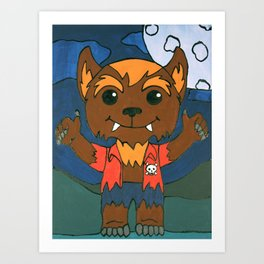 Mischievous Monsters - Wolfie Boy. Art Print