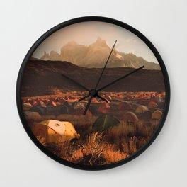 Patagonia Chile Morning Camp Wall Clock
