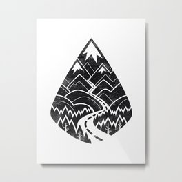 The Road Goes Ever On : Mono Metal Print