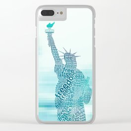 Typographic Statue of Liberty - Aqua Blue Clear iPhone Case
