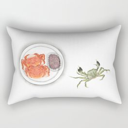 Watercolor Illustration | Chinese Cuisine | Hairy Crab | 大闸蟹 Rectangular Pillow