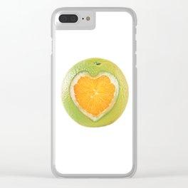Orange heart Clear iPhone Case