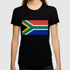 Flag of South Africa, Authentic color & scale Womens Fitted Tee Black MEDIUM