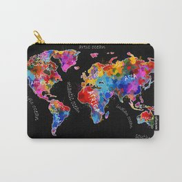 world map color splatter black Carry-All Pouch
