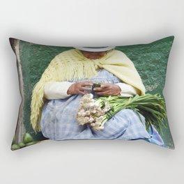 Vegetable and Fruit vendor, Cuenca, Ecuador Rectangular Pillow