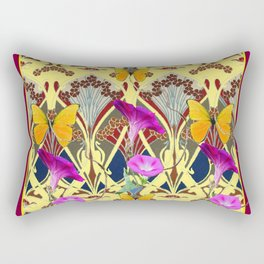 Decorative Cream Color & Fuchsia Morning Glories Floral Yellow Butterflies Rectangular Pillow