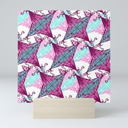 Artsy Pink Purple Teal Geometric Abstract Kites Mini Art Print