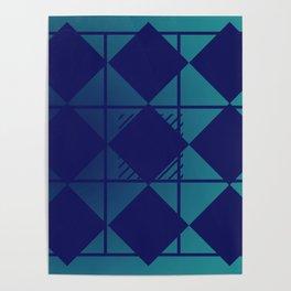 Blue,Diamond Shapes,Square Poster