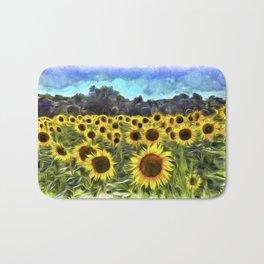 Sunflower Field Vincent Van Goth Bath Mat