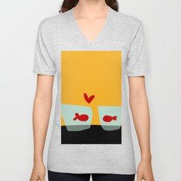 Fishes in love Unisex V-Neck