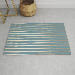Abstract Stripes Gold Tropical Ocean Blue Rug