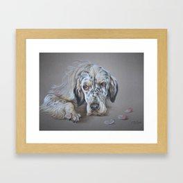 English Setter Freckles Dog Portrait Pastel drawing on grey background Decor for Pet Lover Framed Art Print