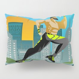fitness runner training in the city Pillow Sham