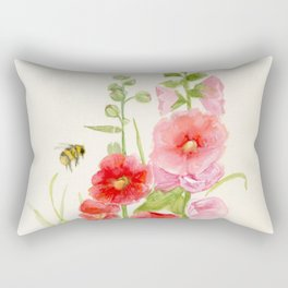 Watercolor Flower Pink Hollyhock and Bee Rectangular Pillow