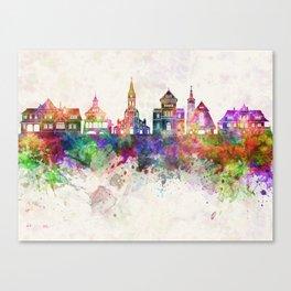 Zakopane skyline in watercolor background Canvas Print