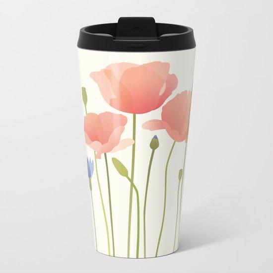 Blushing Poppies II Metal Travel Mug