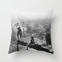 Tough Par Four - Golf Game at 1000 feet black and white photograph Throw Pillow