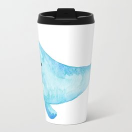 Cute Whale Watercolor Painting Ocean Life Saltwater Blue Whale Travel Mug