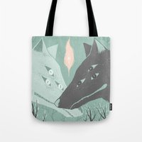 wolves Tote Bags featuring Wolves by Kelsey King Illustration