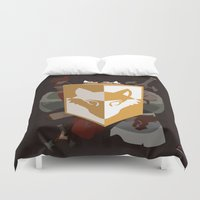 kit king Duvet Covers featuring Adventurer's kit by Armored Collective
