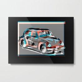 beetle retro car Metal Print