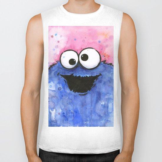 Cookie Monster Funny Cartoon Character Watercolor Blue Pink Biker Tank