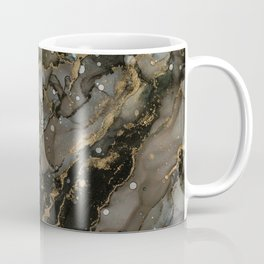 Midnight Gold - Abstract Ink Painting Coffee Mug