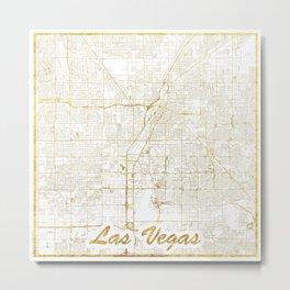 Las Vegas Map Gold Metal Print