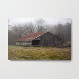 Barn in the Mist - Rustic Barn with Red Tin Roof on Foggy Day in Arkansas Metal Print