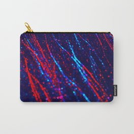 Red Blue Purple Stars Neon Glitter Confetti Colorful Pattern Fourth of July Presidents Day Fractal Carry-All Pouch
