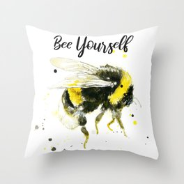 Bee Yourself - Punny Bee Throw Pillow