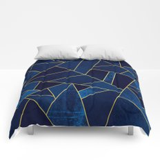 Blue stone with yellow lines Comforters