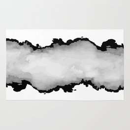 White Gray and Black Monochrome Graphic Cloud Effect Rug