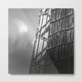 High rise building reflection, black and white fine art photo Metal Print