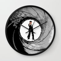 james bond Wall Clocks featuring James Bond Game Boy poster by VGPrints