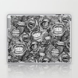 BITE ME roses and orchids BLACK WHITE Laptop & iPad Skin