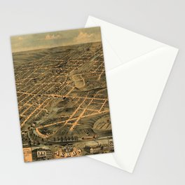 Map Of Akron 1870 Stationery Cards