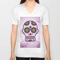sugar skull V-neck T-shirts featuring Sugar skull by nicky2342